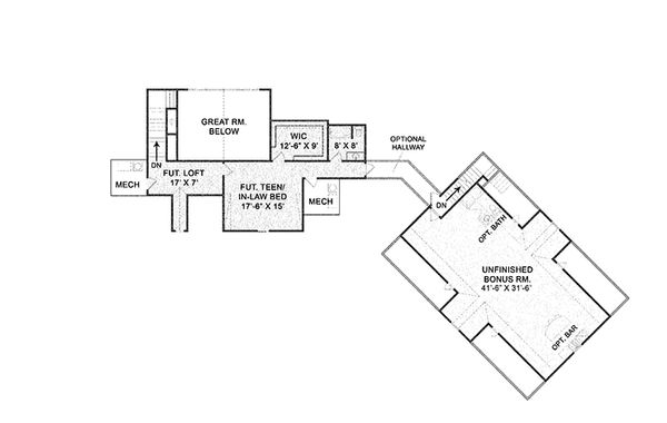 Country Floor Plan - Upper Floor Plan Plan #119-365