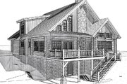 Log Style House Plan - 4 Beds 4 Baths 3610 Sq/Ft Plan #451-8 Exterior - Rear Elevation