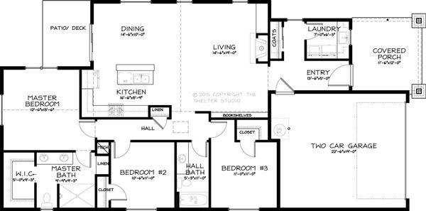 Craftsman Style House Plan - 3 Beds 2 Baths 1596 Sq/Ft Plan #895-40 Floor Plan - Main Floor Plan