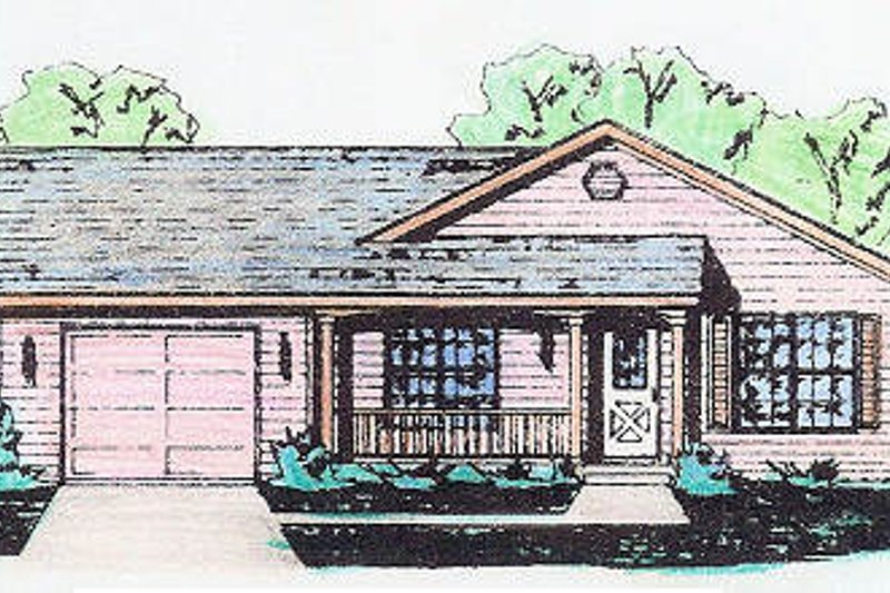 Traditional Style House Plan - 3 Beds 2 Baths 1120 Sq/Ft Plan #421-108