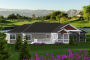 Ranch Style House Plan - 3 Beds 2 Baths 2105 Sq/Ft Plan #70-1118 Exterior - Rear Elevation