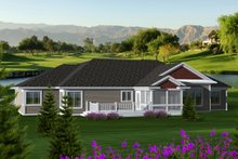 Dream House Plan - Ranch Exterior - Rear Elevation Plan #70-1118