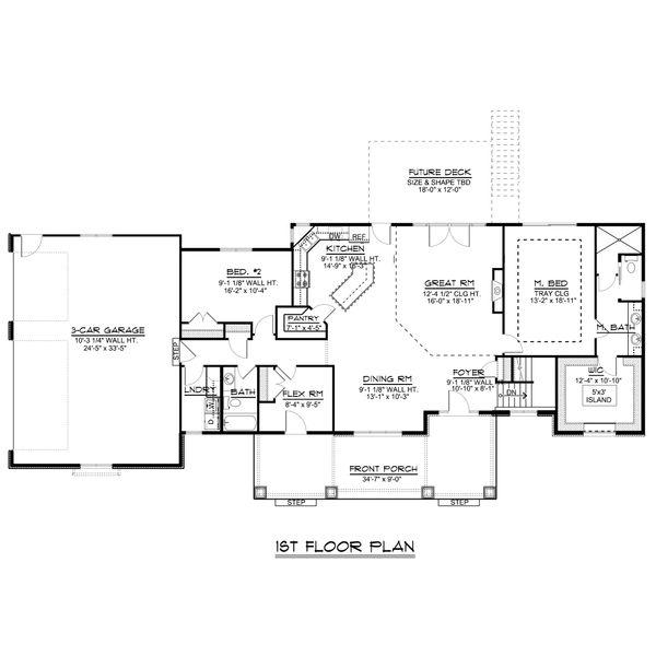 Craftsman Floor Plan - Main Floor Plan #1064-48