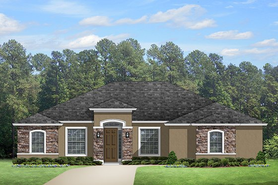 Mediterranean Exterior - Front Elevation Plan #1058-125