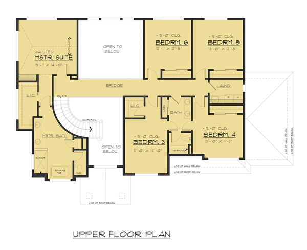 Traditional Floor Plan - Upper Floor Plan Plan #1066-70