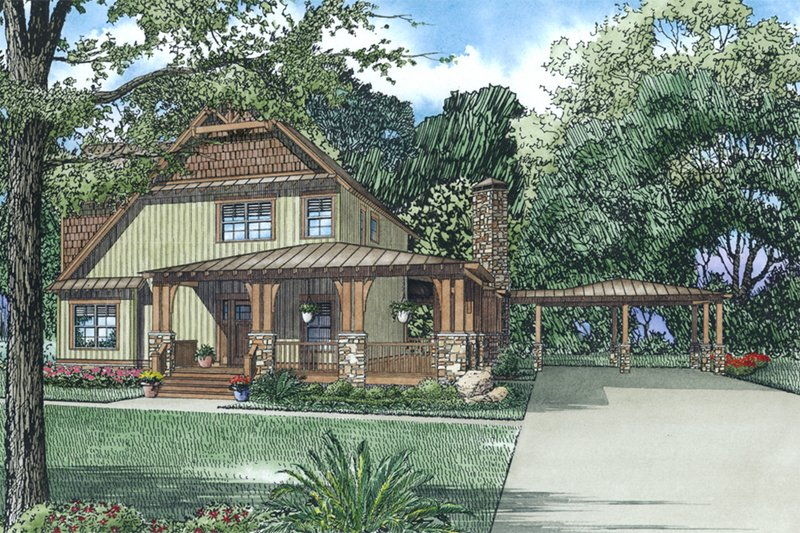 Dream House Plan - Craftsman, Rustic, Front Elevation,