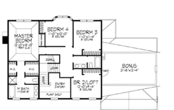 Classical Floor Plan - Upper Floor Plan Plan #320-543