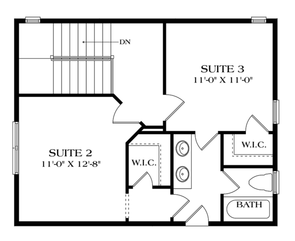 Craftsman Floor Plan - Upper Floor Plan Plan #453-634