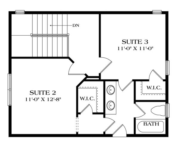 Craftsman Floor Plan - Upper Floor Plan Plan #453-634