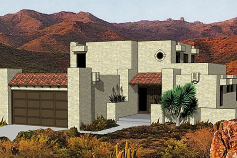 Adobe / Southwestern Style House Plan - 3 Beds 3 Baths 1583 Sq/Ft Plan #116-217 Exterior - Front Elevation