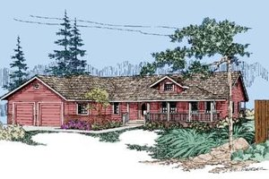 Ranch Exterior - Front Elevation Plan #60-258
