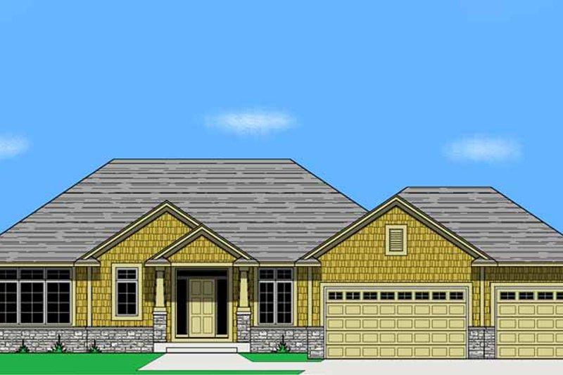 House Plan Design - Prairie Exterior - Front Elevation Plan #981-13