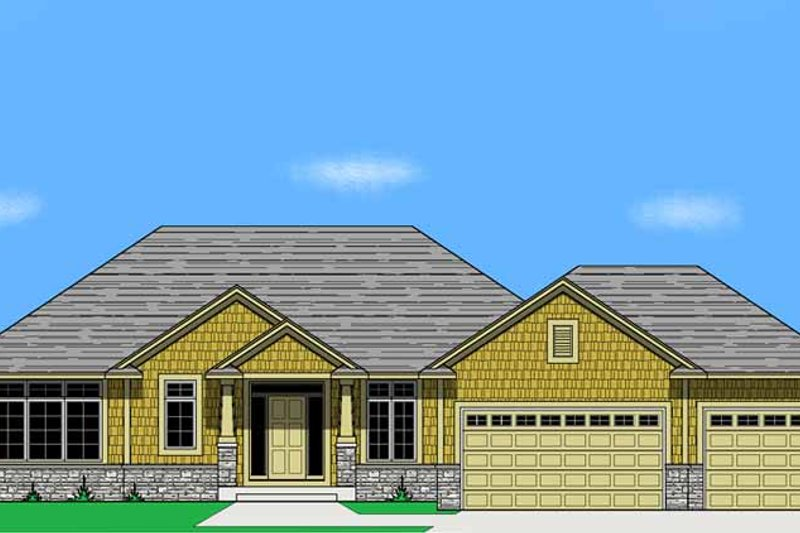 Prairie Exterior - Front Elevation Plan #981-13