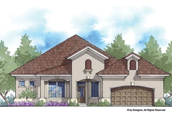 Mediterranean Exterior - Front Elevation Plan #938-81