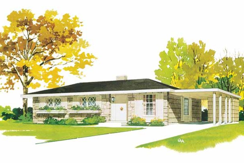 House Blueprint - Ranch Exterior - Front Elevation Plan #72-824