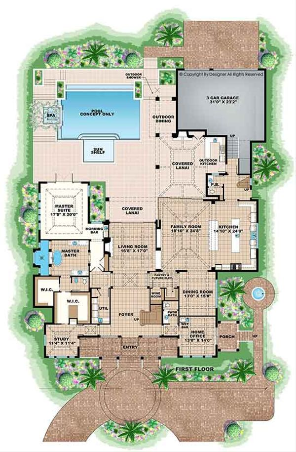 Country Floor Plan - Main Floor Plan Plan #1017-163