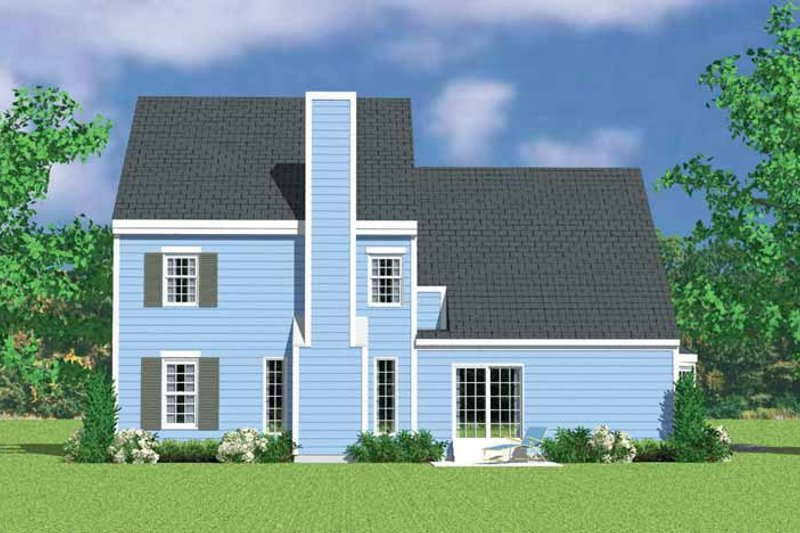 House Plan Design - Colonial Exterior - Rear Elevation Plan #72-1122
