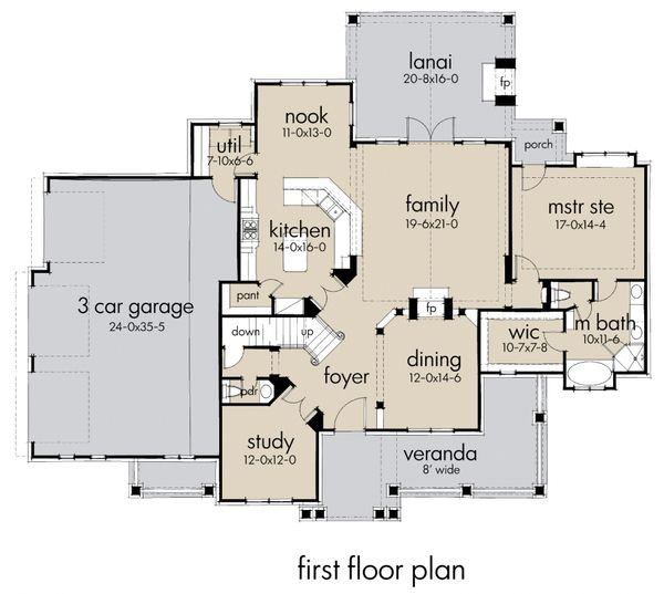 Craftsman Floor Plan - Main Floor Plan Plan #120-183