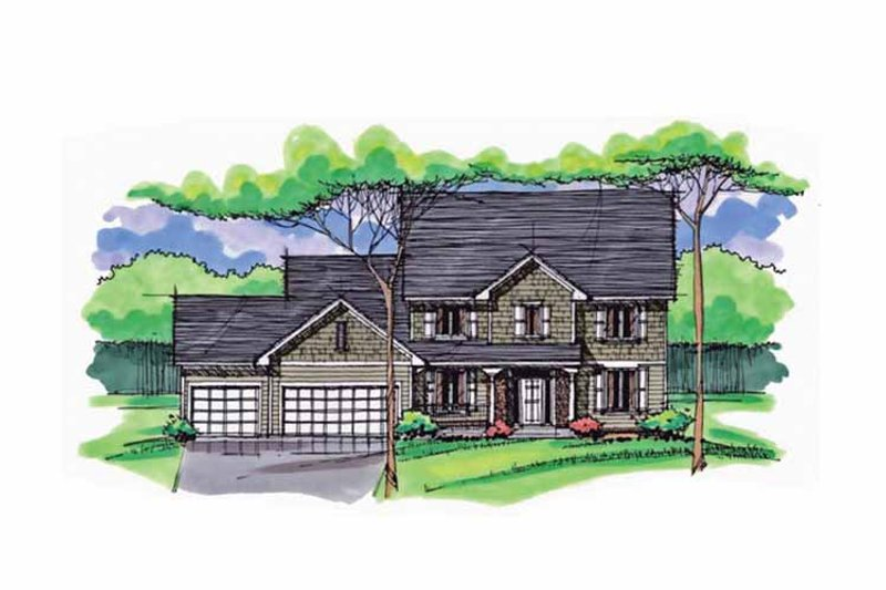 Colonial Exterior - Front Elevation Plan #51-1025