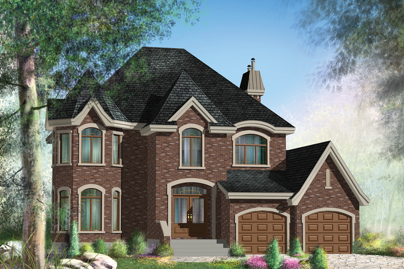European Style House Plan - 3 Beds 2 Baths 2531 Sq/Ft Plan #25-4693 Exterior - Front Elevation
