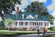 Farmhouse Style House Plan - 4 Beds 3.5 Baths 4227 Sq/Ft Plan #137-282 Exterior - Front Elevation