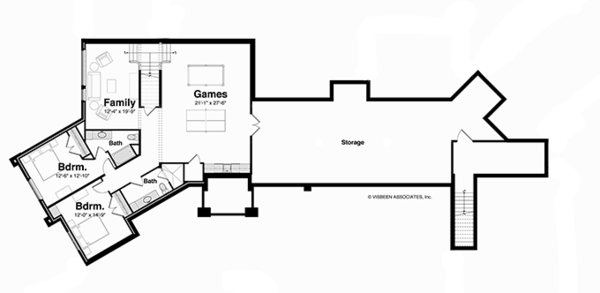 Contemporary Floor Plan - Lower Floor Plan Plan #928-255