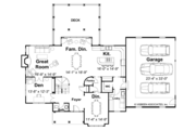 Craftsman Style House Plan - 4 Beds 3 Baths 3094 Sq/Ft Plan #928-113 Floor Plan - Main Floor Plan