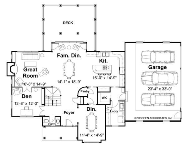 House Plan Design - Craftsman Floor Plan - Main Floor Plan #928-113