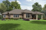 Prairie Style House Plan - 3 Beds 2 Baths 1759 Sq/Ft Plan #48-684 Exterior - Rear Elevation