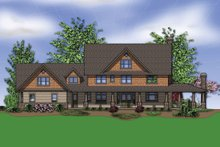 Dream House Plan - rear View - 4000 square foot Country Craftsman home