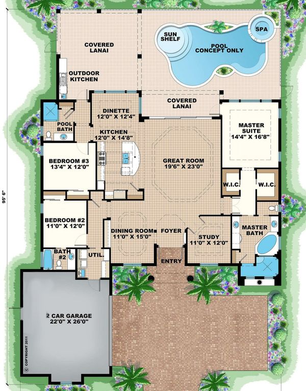 Mediterranean Floor Plan - Main Floor Plan Plan #27-550