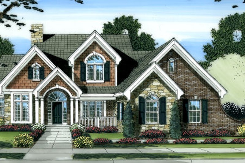 Bungalow Style House Plan - 4 Beds 3.5 Baths 2873 Sq/Ft Plan #46-439 Exterior - Front Elevation
