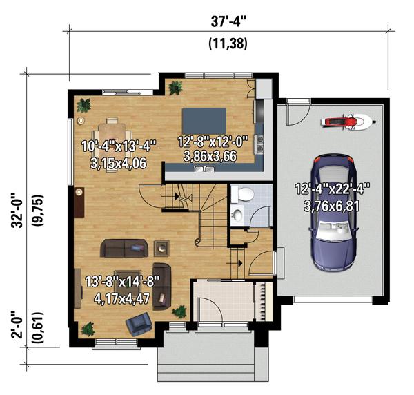 Contemporary Floor Plan - Main Floor Plan Plan #25-4313