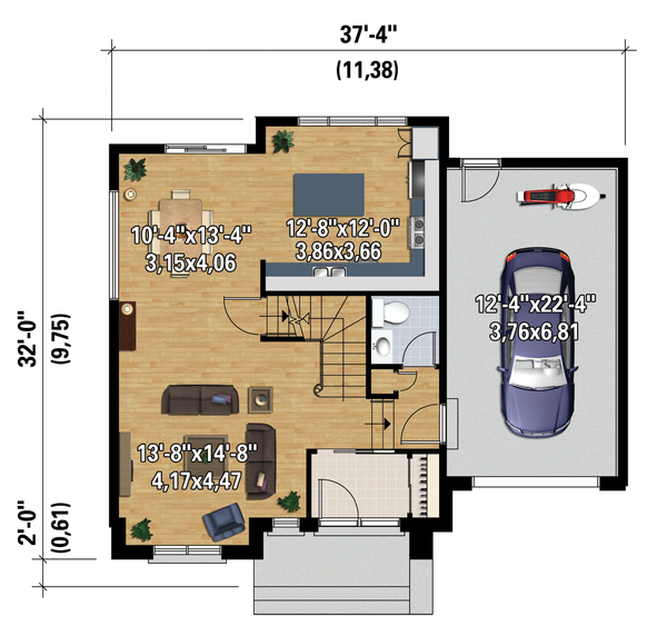 Contemporary Floor Plan - Main Floor Plan Plan #25-4313