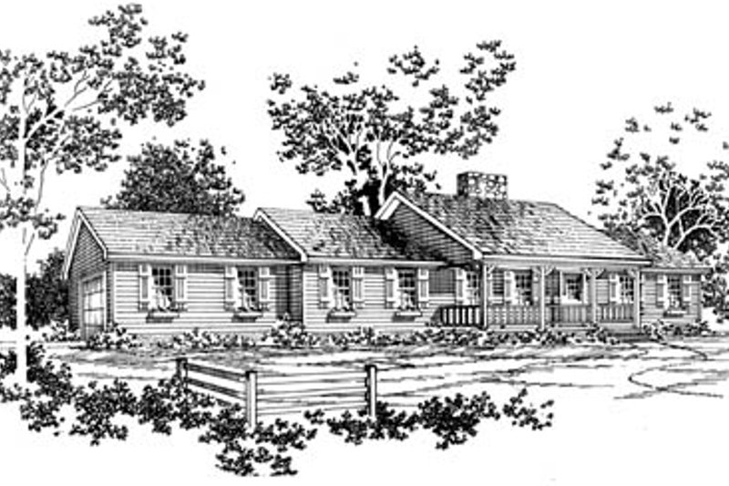 Architectural House Design - Country Exterior - Front Elevation Plan #10-131