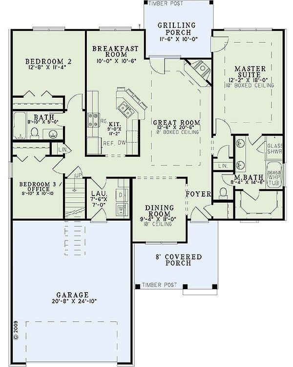House Plan Design - Craftsman Floor Plan - Main Floor Plan #17-2463