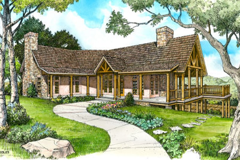 Country Style House Plan - 3 Beds 3 Baths 2491 Sq/Ft Plan #140-111 Exterior - Front Elevation