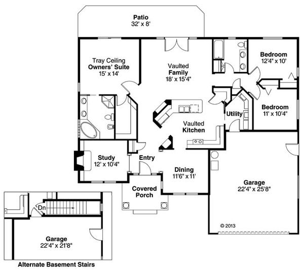 Ranch Floor Plan - Main Floor Plan Plan #124-487