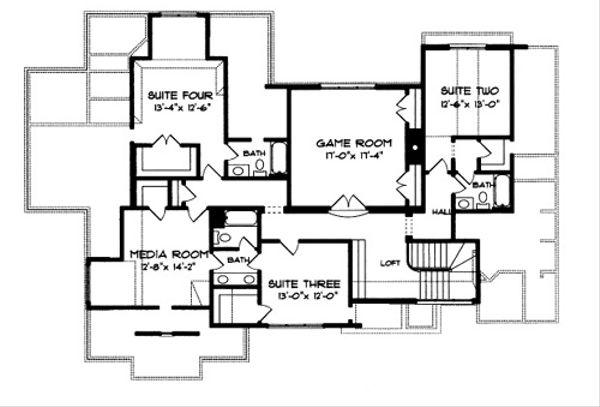 European Floor Plan - Upper Floor Plan Plan #413-118