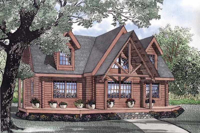 Log Exterior - Front Elevation Plan #17-3055 - Houseplans.com