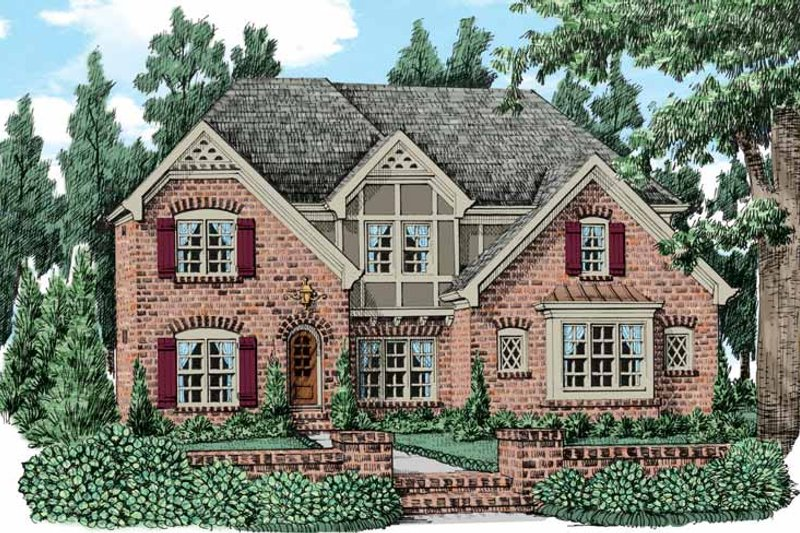 Tudor Exterior - Front Elevation Plan #927-437