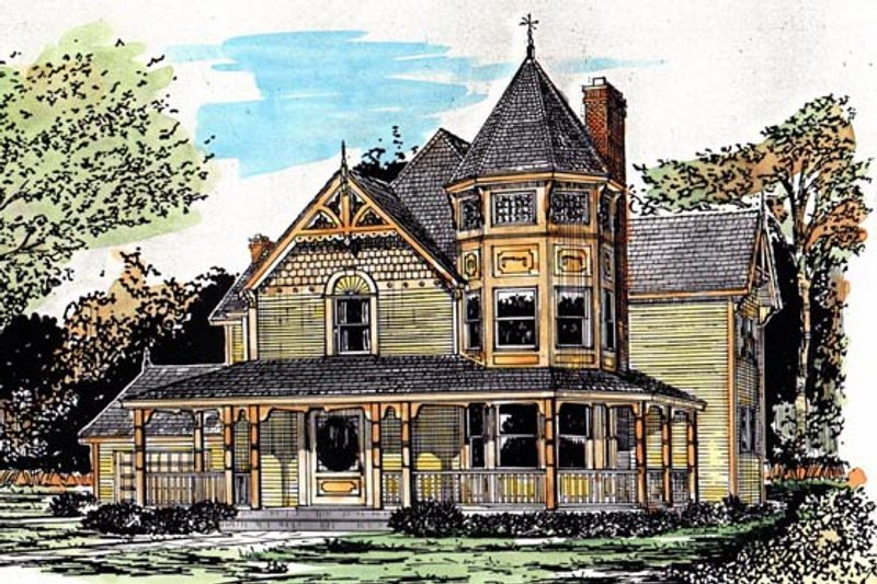Victorian Style House Plan - 4 Beds 2.5 Baths 2056 Sq/Ft Plan #315-103 Exterior - Front Elevation