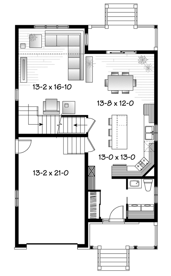 European Floor Plan - Main Floor Plan Plan #23-2589
