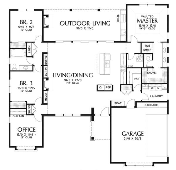 Contemporary Floor Plan - Main Floor Plan Plan #48-917