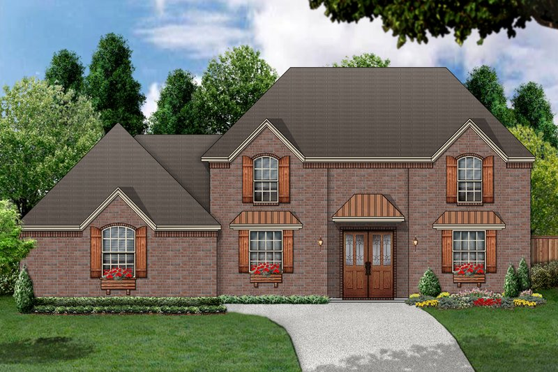 European Exterior - Front Elevation Plan #84-414 - Houseplans.com