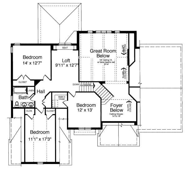 Traditional Floor Plan - Upper Floor Plan Plan #46-401