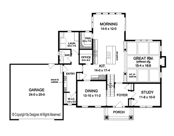 Colonial Floor Plan - Main Floor Plan Plan #1010-160