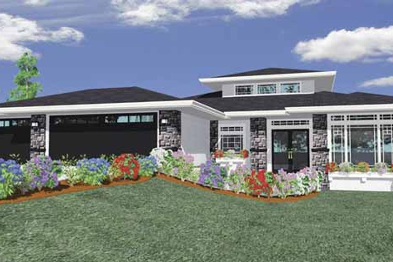 Prairie Exterior - Front Elevation Plan #509-424 - Houseplans.com