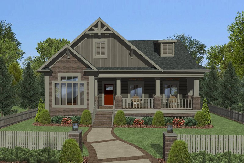 Craftsman Style House Plan - 3 Beds 2 Baths 1779 Sq/Ft Plan #56-708 Exterior - Front Elevation
