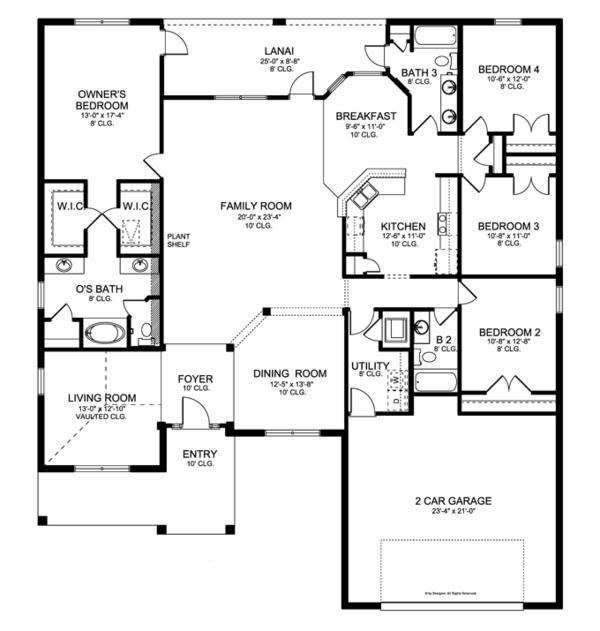 Craftsman Floor Plan - Main Floor Plan Plan #1058-29